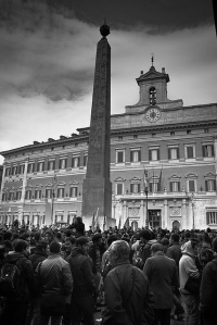 Italian students protesting in front of the Parliament